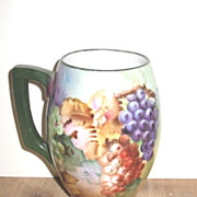 Unmarked Hand Painted Limoges Mug w/Grape Design