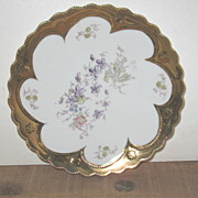 Unmarked Hand Painted Plate with Violets