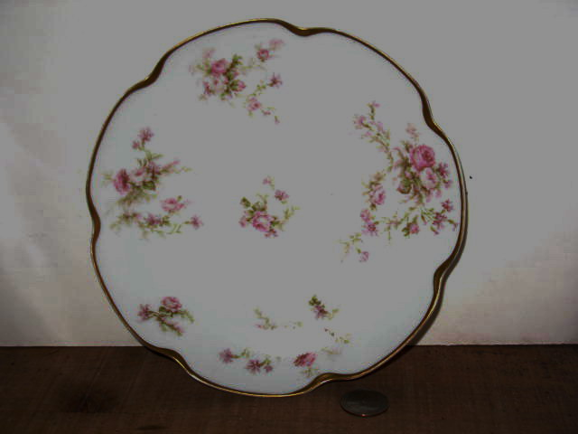 "Double Marked Haviland Limoges 7 5/16"" Plate w/Roses"
