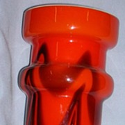 Orange and Black Czech Cased Vase