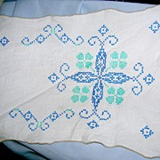 Blue and Teal Cross-stitch runner