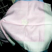 Pink & Ivory Linen Applique Lunch Cloth