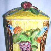 Japan Majolica Flour Cannister w/Grape pattern