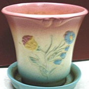 Hull Bowknot Planter with Attached Saucer Pink Topped