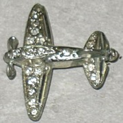 Small Rhinestone Airplane Pin
