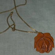 Carved Amber Bakelite Rose Necklace