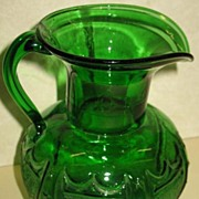 Green Glass Mold Blown Pitcher