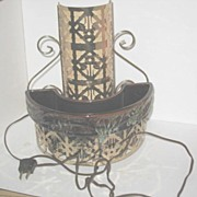 TV Lamp with Half Round Planter and Brass Decor