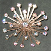Prong-set Star-burst Aurora Borealis and Rhinestone Pin