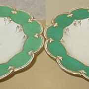 Pair of Green and White Unmarked Coalport Compotes
