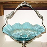 SALE PENDING Blue Opalescent Spanish Lace Bride's Bowl in Basket