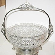 Crystal Pattern Glass Brides Basket with Original Silverplate Basket