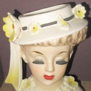 Pretty Lady in yellow Head Vase  C6018