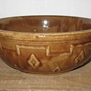 "9"" Indian Design Brown USA Pottery Mixing Bowl"