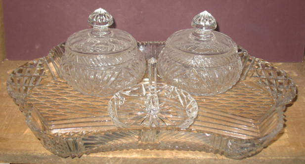 4 Piece Cut Glass Dresser Set