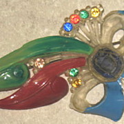 Celluloid Bow Pin with Multi-colored Rhinestones