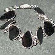 Unmarked Black Enamel and Silver-tone Bracelet