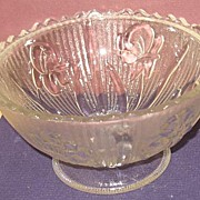 Iris and Herringbone Clear Footed Candy Bowl Bottom