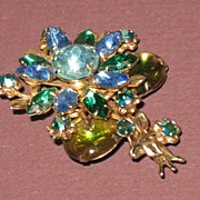 Prong-set Rhinestone Pin in Greens and Blues