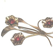 Unmarked Prong-set, Red Rinestone Brass Floral Pin