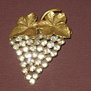 Marked Czech Prong Set Rhinestone Grape Design Pin
