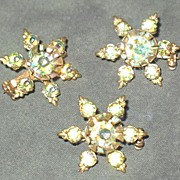 Set of Three Highly Luster-ed  Aurora Borealis Scatter Pins
