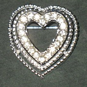 Chromium Heart Pin with Hand Set Rhinestones