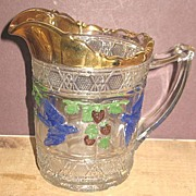 Indiana's Pattern Glass Bird & Strawberry Cream Pitcher