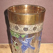 Indiana's Bird & Strawberry Decorated Pattern Glass Tumbler