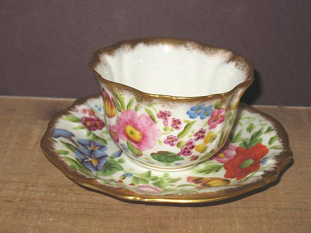 Hand Painted English Handle-less Cup and Saucer