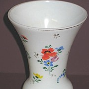 Hand Painted Marked Czech Mold Blown Glass Vase