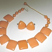 Marigold Color Bakelite Necklace & Screwback Earrings Set