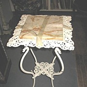 Painted White Cast Metal Plant Stand with Marble Top