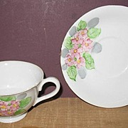 Hand Painted Occupied Japan Cup and Saucer Pink Flowers
