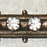 Brass And Rhinestone Victorian Bar Pin