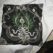 Embroidered and Applique Black and Green Pillow.
