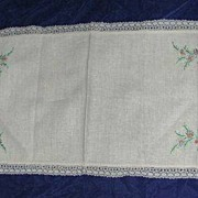 Embroidered Hop-sacking Runner with crocheted edging
