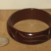 Carved Brown Bakelite Bracelet