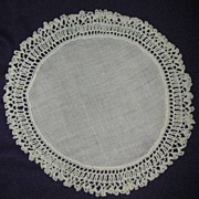 Linen Doilie with Crocheted Edging