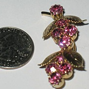 Prong Set Rhinestone Berries with Goldtone Leaves Pin