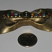 Bow Shaped Brass Pin  with Multi Colored Rhinestones