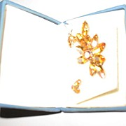 Prong Set Pin and Earrings with Amber Rhinestones