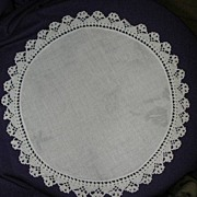 "11 1/4"" diameter Linen Doilie Crocheted Edge"