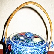 Blue Japanese Majolica Floral Cracker Jar