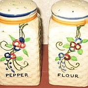Hand Painted Made In Japan Flour and Pepper Shakers.