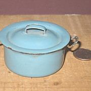 Miniature Graniteware Child's Sauce Pan and Cover.
