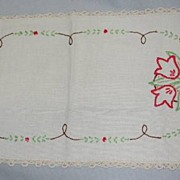 Red Tulip linen Table Scarf