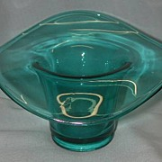 Teal Blue Glass Hat Bowl.