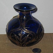 REDUCED 1907 Dugan Glass Filagree Cornflower Pattern Cobalt Vase