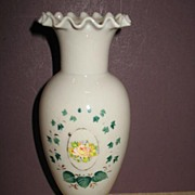 REDUCED Victorian Hand Blown Ruffled Top Vase